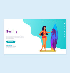surfing hobwoman summer fun vacation web vector image