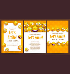 Three funny posters template set brochure vector