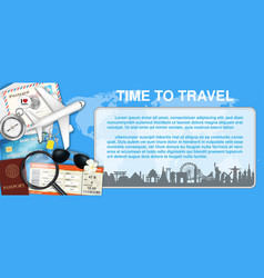 time to travel with airplane and travel object vector image