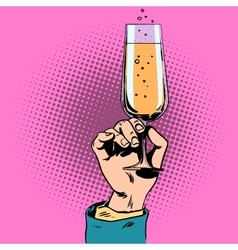 Toast a glass champagne wine in hand vector