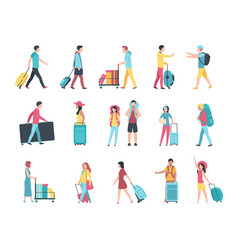 travel people airport tourist baggage crowd vector image