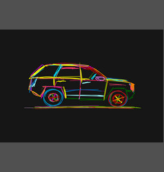 Tuned suv sketch for your design vector