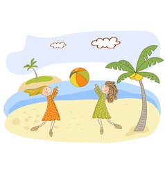 two girls play on the beach vector image