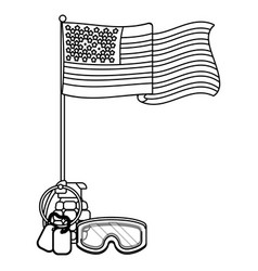 united state flag with grenade black and white vector image