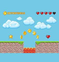 Video pixel game landscape with gold coins white vector