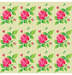 Vintage seamless pattern with beautiful roses vector image vector image