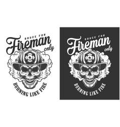 vintage skull wearing fireman helmet badge vector image