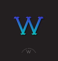 W monogram blue gradient letter initial vector