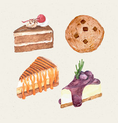 Watercolor hand painted sweet and tasty cake vector