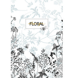 Wild flowers blossom branch border with seamless vector