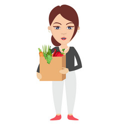 woman holding bag with groceries on white vector image