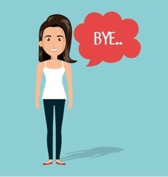 Woman talk chat bubble isolated vector