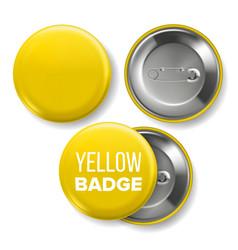 yellow badge mockup pin brooch yellow vector image