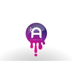 A letter splash logo purple dots and bubbles vector