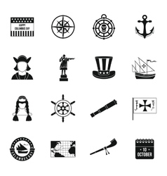 Columbus Day icons set simple style vector image