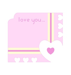 greeting card with hearts cutting out along the vector image vector image