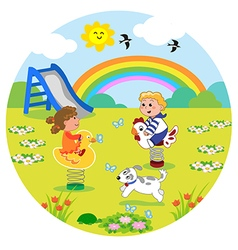 Kids at the playground in round size vector image
