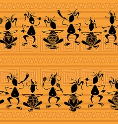 Seamless pattern of tribal musicians vector image