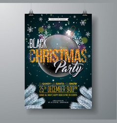 black christmas party flyer with vector image