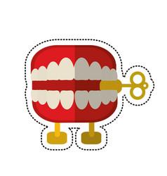 cartoon april fools day chattering teeth vector image vector image