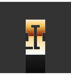 Gold Letter I Shape Logo Element vector image vector image