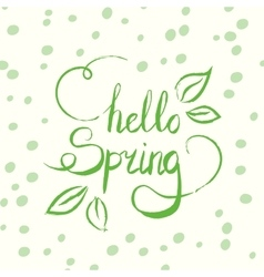 Hello spring tag ink lettering Modern vector image vector image