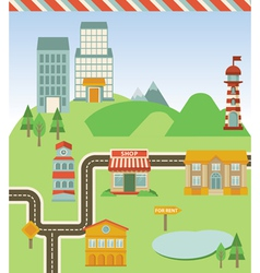 map with houses road and signs vector image vector image