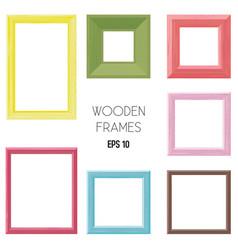 wooden frames color set vector image
