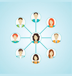 Connecting people icons set isolated vector