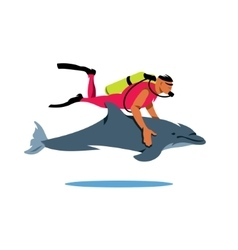 Diver and Dolphin Cartoon vector image