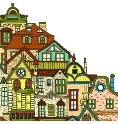 Hand-drawn background with old town vector