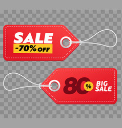 realistic discount red tags isolated on checkered vector image vector image
