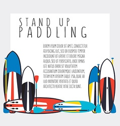 Stand up paddle boards and paddles set i vector