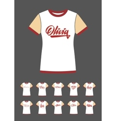 T-Shirt design with the personal name Olivia vector image