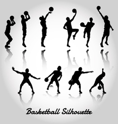 Attack and deffense basketbal silhouette vector image