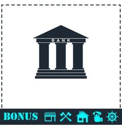 Bank icon flat vector