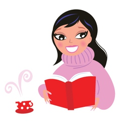 beautiful woman reading book from red library vector image vector image