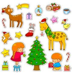christmas cartoon collection vector image