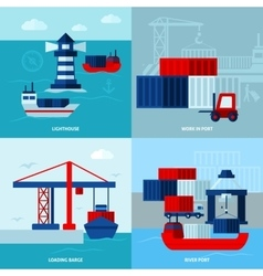Flat Color Seaport Concept vector image vector image