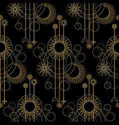 gold astralogy modern seamless pattern vector image