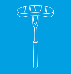Grilled bratwurst on a bbq fork icon outline style vector
