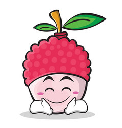 happy face lychee cartoon character style vector image