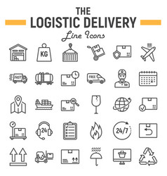 logistic line icon set delivery symbols vector image