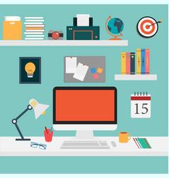 Office set for work computersmart vector image
