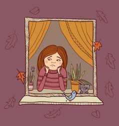 sad girl looking in the window autumn vector image