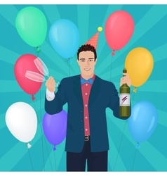 Smiling handsome man holding holding champagne and vector image