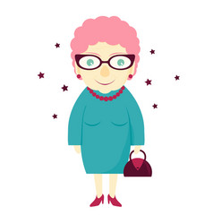 stylish lovely cute grandmother with a handbag vector image vector image