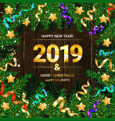 2019 made of felt and christmas fir tree branch vector image