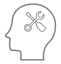 A male head icon with a tool set vector