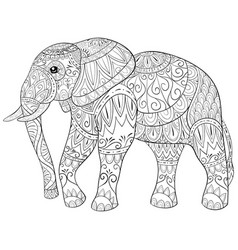 Adult coloring bookpage a cute elephant image for vector